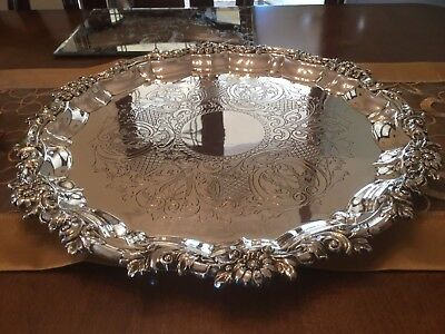 Superb Vintage  Large Silver Plated Chased Ornate Footed Drinks Tray