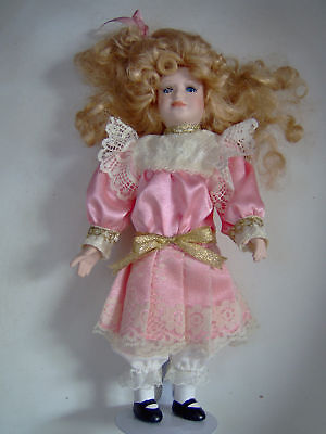 Victorian 10.5 in Mini Collectible Doll by Tuss w/stand
