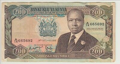 KENYA BANKNOTE P# 23Aa-5692  200 SHILLINGS 14 SEP 1986  FINE USA SELLER
