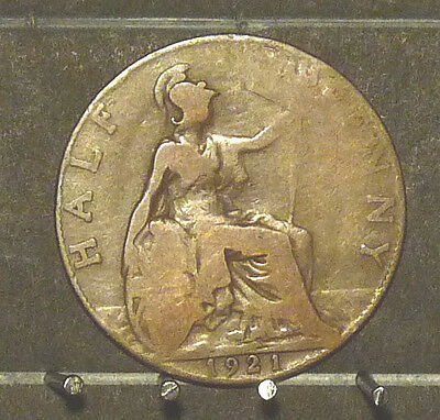 1921 Great Britain Half Penny  Coin     F17