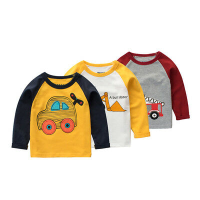 Baby Boys Girls Long Sleeve Cotton T-Shirt Kids Autumn Cartoon Sweater Tops 1-5Y