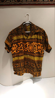 Vintage Made in Honolulu Aloha Wear Tiki Idol Design Hawaiian Shirt