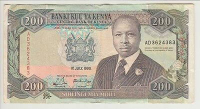 KENYA BANKNOTE P #29b-4383  200 SHILLINGS I JUL 1990  FINE  USA SELLER