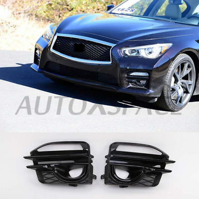 2 PIECES FIT or Infiniti Q50 Sport 2014-2017 Fog Light Cover Gloss Black ABS