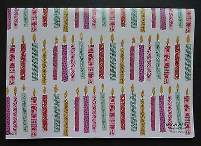 2 Sheets Simon Elvin Gift Wrap CANDLES Happy Birthday Wrapping Paper