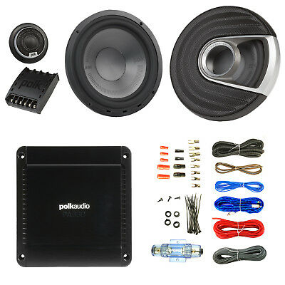 "2x Polk Audio 375W Marine 6.5"" Component Speaker, 330W 2 Channel Amp, 50 Ft Wire"