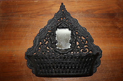 Vintage Victorian Middle Eastern Style Wall Pocket Letter Holder Cast Iron Decor