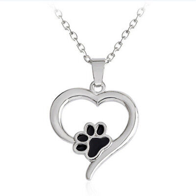 Hollow Pet Paw Print Necklace Cute Animal Dog Cat  Pendant Necklace Jewelry FO