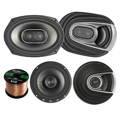 "2x Polk Marine 6.5"" 2 Way Speakers, 2x 6x9"" 3 Way Speakers, 16-G 50 Ft Wire"