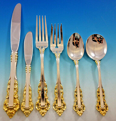 Medici Gold Accent by Gorham Sterling Silver Flatware Set for 8 Service 53 pcs