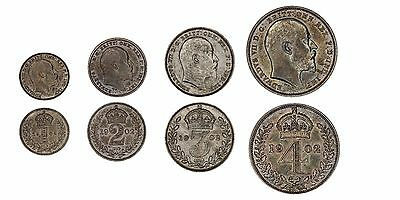 1902 Edward VII maundy set silver coins of Great Britain