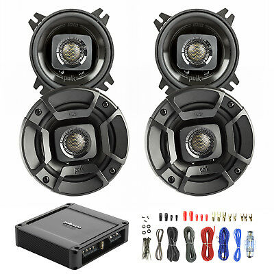 "4X Polk Audio 4"" Speakers Black, Polk PA330 330W 2-Ch Car Amp, Wiring Kit"