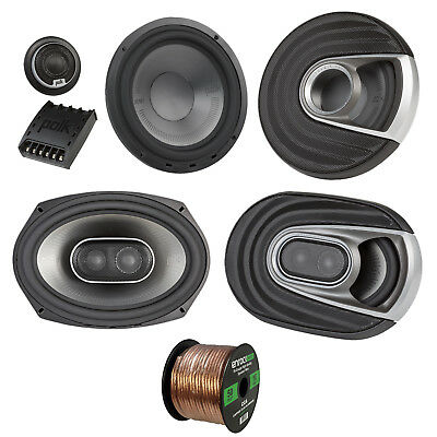 "2x Polk Marine 6x9"" 3 Way Speakers, 2x 375W 6.5"" Speaker, 16-G 50 Ft Wire"