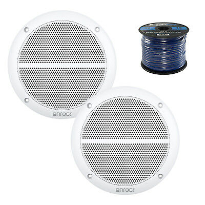 "2X Enrock Marine EM602W Dual 6.5"" 250W Weather Resistant Speakers 50' Wire Spool"
