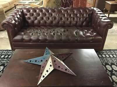 Vintage Classic Leather Manufactured Tufted Chesterfield Sofa