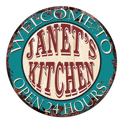 Cpk 0045 Welcome To Janet S Kitchen Chic Tin Sign Man Cave Decor Gift Ideas