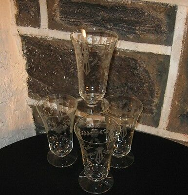 """Vintage """"Ice Tea's """"  Etched flower and sash footed fine lot of 4"""