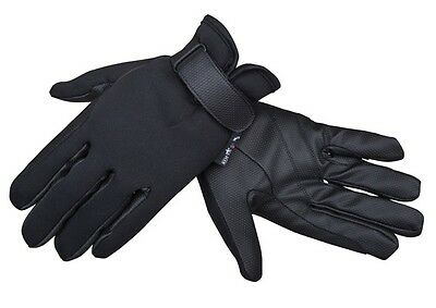 HKM Warm Stretchy Neoprene Thermo Black Winter Riding Gloves