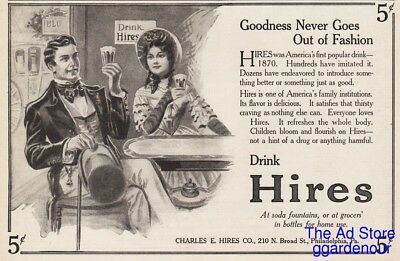 1913 Hires Root Beer Sassafras Couple Soda Fountain Goodness Never Out Art Ad
