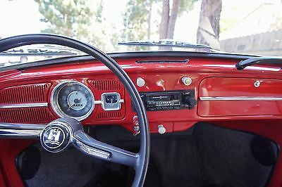 1966 Volkswagen Beetle - Classic Standard Ruby Red, white interior