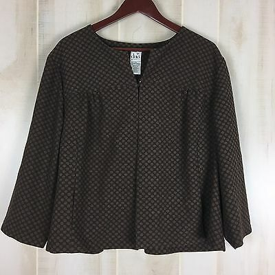 Duo Maternity Womens Jacket Top Shirt Brown Knit 3/4 Sleeve Size 2X