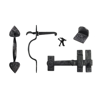 Iron Valley - Gate Kit - Drop Bar, Spear Thumb Latch, Gate Stop - Solid Cast Iro