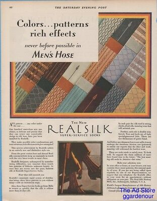 1928 Real Silk Hosiery Mills Indianapolis Indiana Men's Socks Colors Patterns Ad