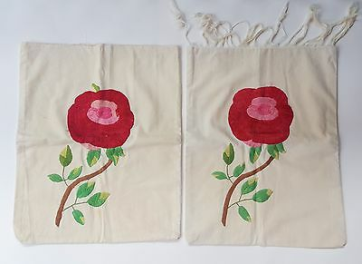 Set Vintage Rose Embroidered Pillowcase Pillow Cover 1920s/1930s 20s 30s Pair 2