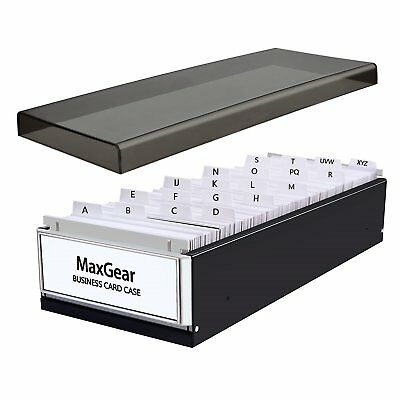 MaxGear Business Card File Name Case Holder Storage Box Organizer Stores Up 800