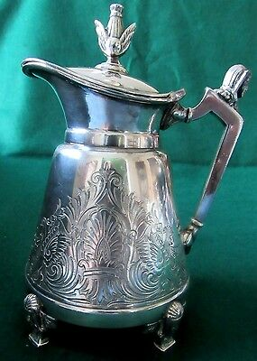 Silver Plated Syrup Pitcher with Engraved Design Pat.1869 Egyptian Motif