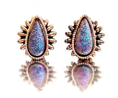 Retro Mid-Century Vintage Copper Spiked Dragon's Breath Glass Clip Earrings