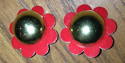 Civil War, Pair of USMC M-1859 Brass Half Ball W/Red disc, New Unused Repros