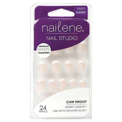 NAILENE - Nail Studio Short  French Pink - 24 Nails x 2 packs