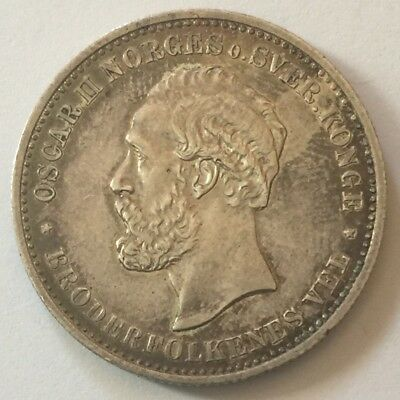 1902 Norway 2 KRONER Silver Coin AU+ Luster Remains SUPER Original Surfaces!!!