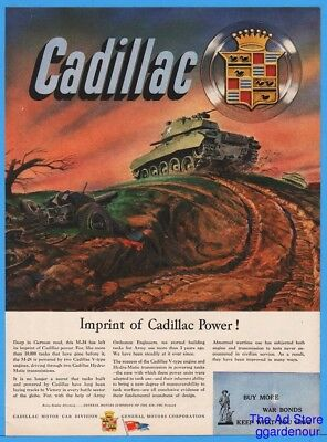 1945 Cadillac M-24 Tank in Battle War Time WWII Ad Deep In German Mud Art
