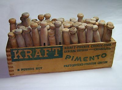 Primitive Wood Kraft Cheese Box Vintage Laundry Clothespin Crate Full Of Pins