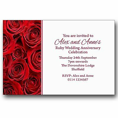 10 Personalised Party Invitations 40th Ruby Wedding