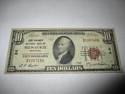 $10 1929 Milwaukee Wisconsin WI National Currency Bank Note Bill! #64 VF!