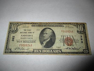 $10 1929 Amherst Massachusetts MA National Currency Bank Note Bill Ch. #393 Fine