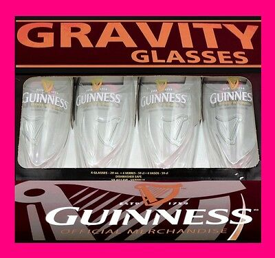 4 Official GUINNESS GRAVITY GLASSES 20oz Gift Box Genuine stout mug beer pint