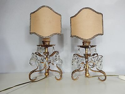 ~c 1930 French Gold Tole Crystal Prisms & Murano balls Lamps w/ Shades Vintage~