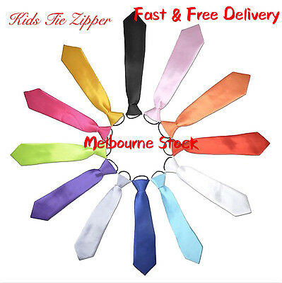 Kids Tie Pre-tied Zipper Neck Tie Teen Wedding Party accessories Fancy Dress Up
