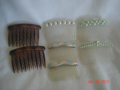 NICE LOT 7 Vtg. WOMEN'S DECORATIVE HAIR COMBS 3 Faux PEARLS & 4 MADE in FRANCE