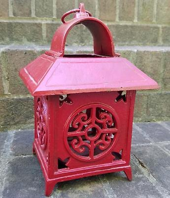 Japanese Pagoda Oriental Red Cast Metal Iron Hanging Garden Lantern Candle Lamp