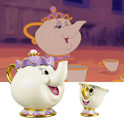 2017 Cartoon Beauty and The Beast Mrs. Potts Chip Tea Pot & Cup set Teapot Mug