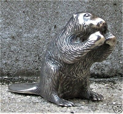 "S. KIRK & SON SOLID CAST STERLING MINIATURE ""ECOLOGIST BEAVER"" 2.77 Troy oz."