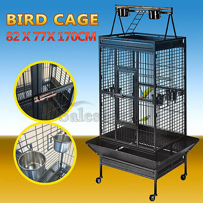 Large Black Arched Roof Pet Bird Parrot Aviary Canary Cage Castor Wheels