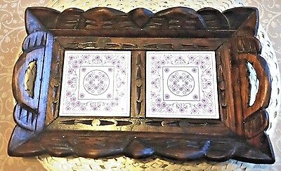 Vintage Rustic Wood Glazed Ceramic Tile Serving Tray Shabby Cottage Chic Mexican