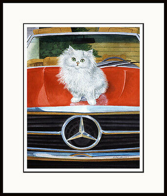 MERCEDES - WHITE PERSIAN FRAMED MINI CAT ART PRINT by DREW STROUBLE CATMANTDERW