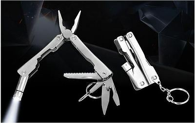 8in1 - Multi Function Folding Portable Camping Hiking Keyring Knife LED + Bag